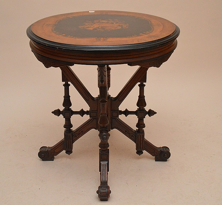 19th Century Round inlaid musical moift Table, 27-1/2in. Dia. x 29in. tall