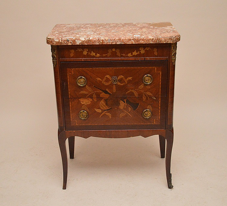 2 drawer marquetry stand with marble top, 34 1/2