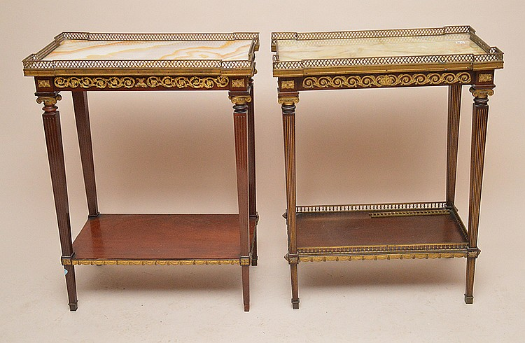 Pair Louis XVI occasional table with gilt metal rims, onyx tops and lower shelves, 32 1/2
