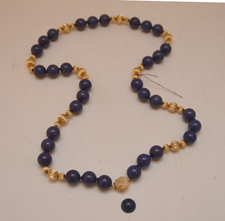 Lapis & 14kt gold bead necklace, 12