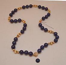 Lapis & 14kt gold bead necklace, 12