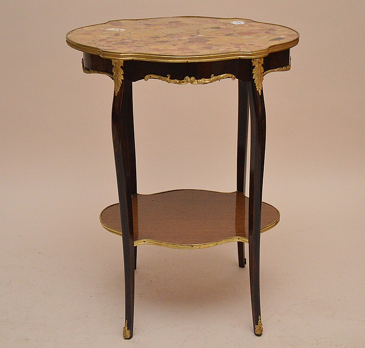 Marble top turtle form French side table with lower shelf and gilt metal mounts, 29