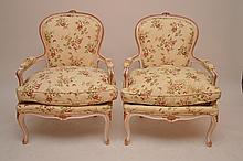 Pair floral fabric French Fauteuils with down cushions