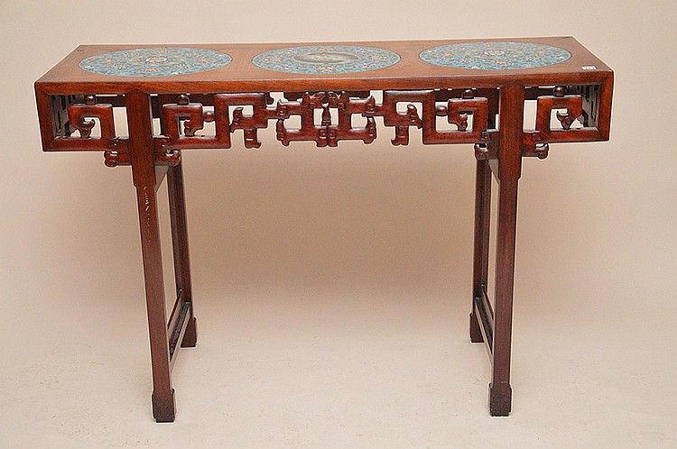 Chinese altar table with 3 cloisonné inserted desks, 31 1/2
