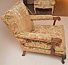 Unusual large arm chair, crewel upholstery