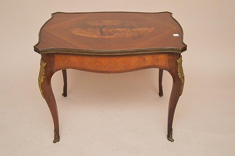 French Inlaid Cocktail Table with bronze mounts. Ht. 22