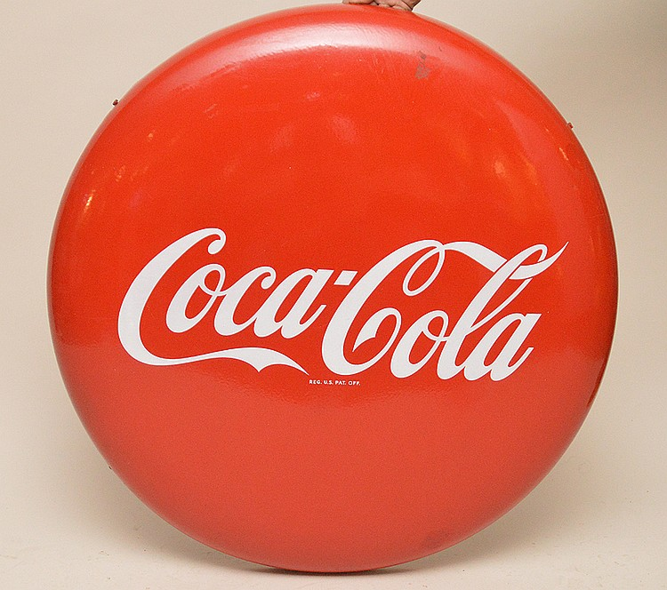 Vintage Coca-Cola Button Sign, 38 inches diameter