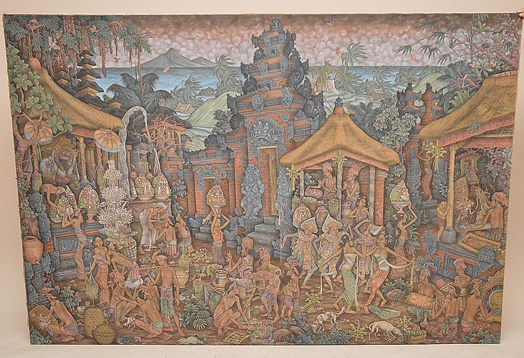 I Wayan Pendet (BALINESE, 20th C) oil on canvas, Bali UBUD Painting, 51