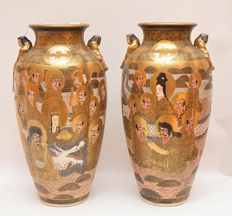 Pair Meji Period Satsuma Vases. Ht. 12 1/2