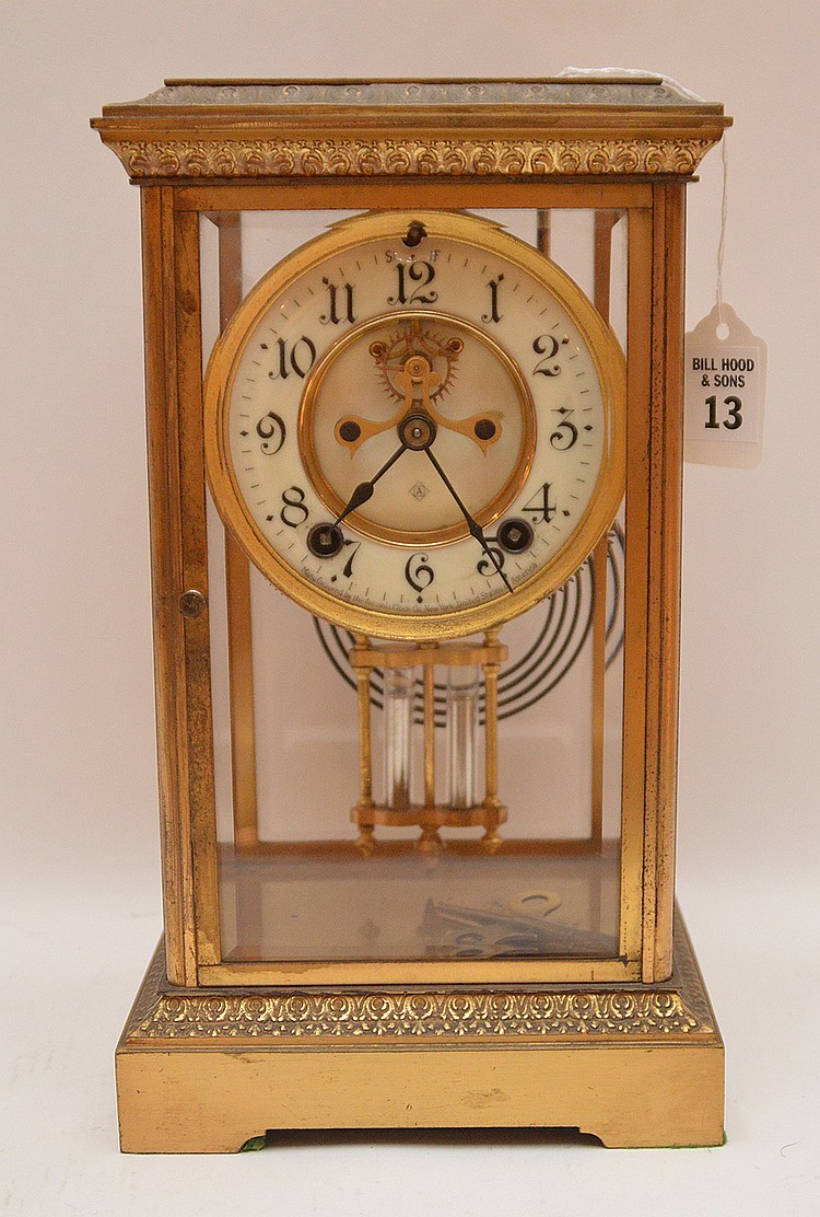 Bronze & Crystal Regulator Clock with mercury bob pendulum.  H. 11 1/2
