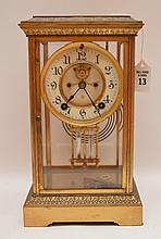 Bronze & Crystal Regulator Clock with mercury bob pendulum.  H. 11 1/2