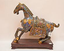 Large Vintage Cloisonné Horse on a custom wood stand.  Ht. 18