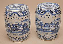 Pair Chinese Porcelain Blue & White Garden Seats.  Ht. 18 1/2