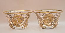 Pair Bohemian Glass Vases with etched gold decoration.  Ht. 6 1/4