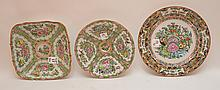 3 Pieces Chinese Rose Medallion Porcelain.  Square Bowl 8 1/2