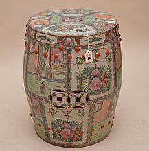 Chinese Porcelain Rose Medallion Garden Seat.  Ht. 19