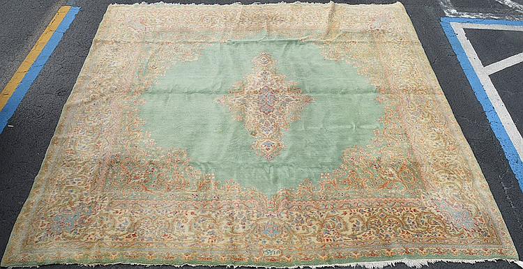 Persian Kirman Greens, 10' x 11'