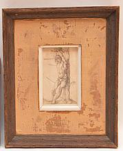ALBRECT DURER (German 1471-1528) Print/Engraving on paper 4.50 inches x 2.75inches. Monogrammed lower right center