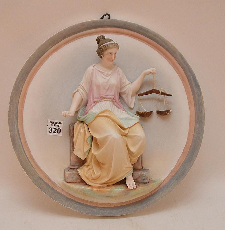 Bisque circular wall plaque, 12