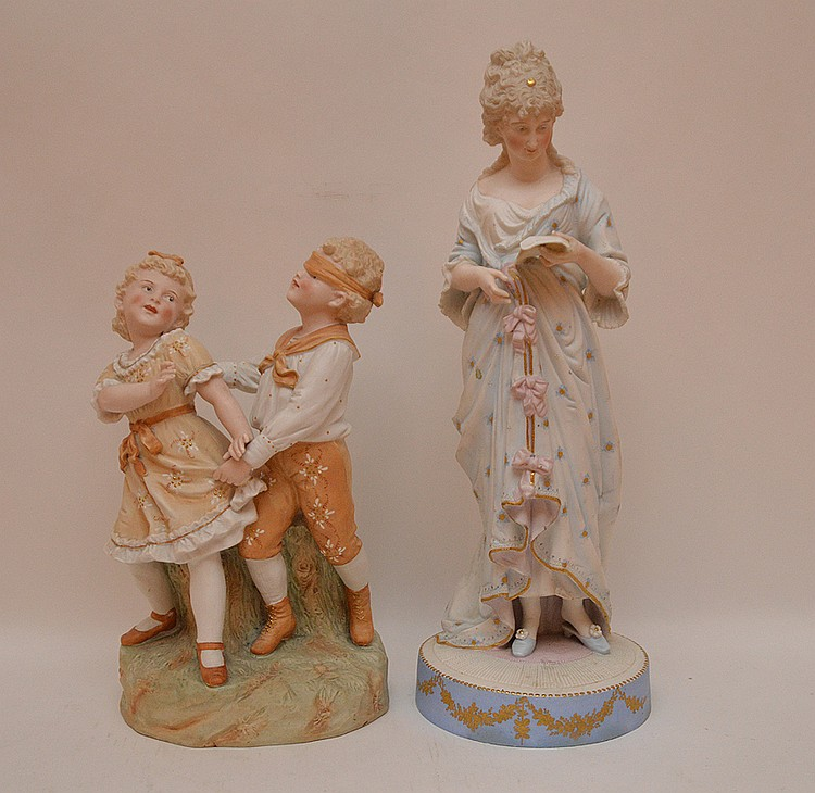 2 bisque figures, children playing & woman, 13