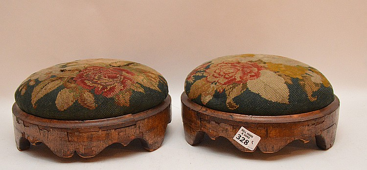 Pair Continental needlepoint stools, 4
