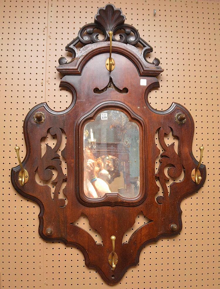 Victorian walnut hanging hat rack, 46