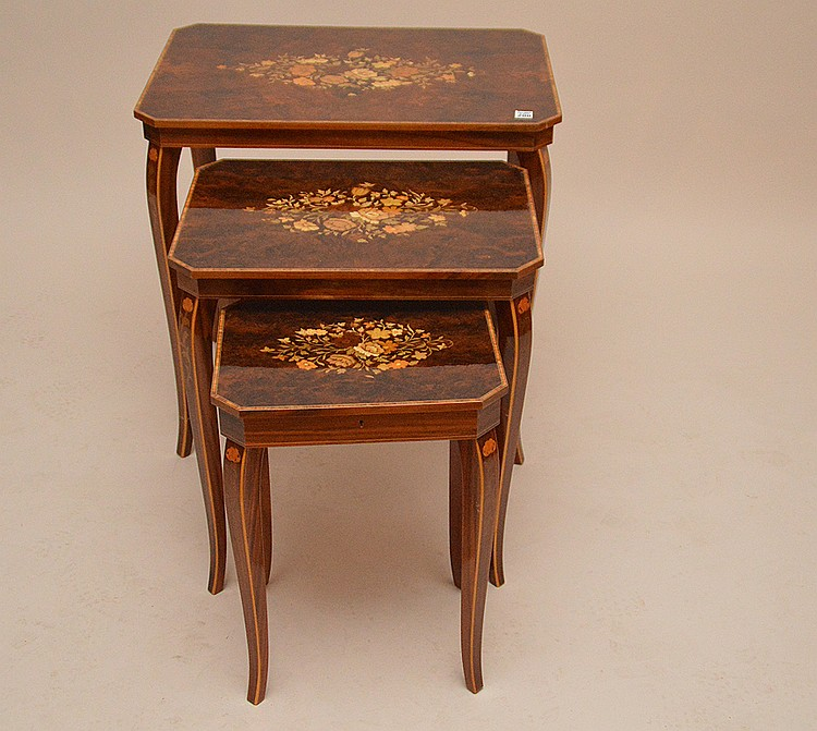 3 Italian graduated marquetry nest of tables, smallest is a music box, fine condition