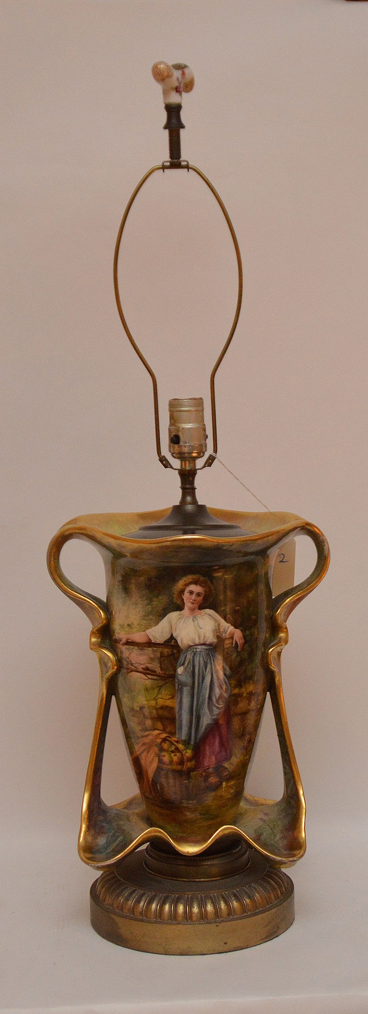 Old Paris porcelain lamp, 32