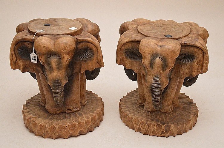 Pair Carved Wood Elephant Tables .  Ht. 17