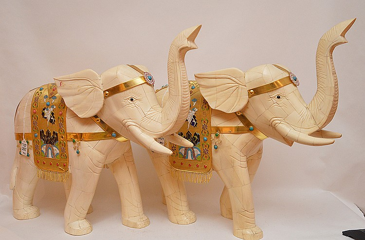 Pair Large Carved And Tiled Bone Elephants with enamel decoration. Ht. 22