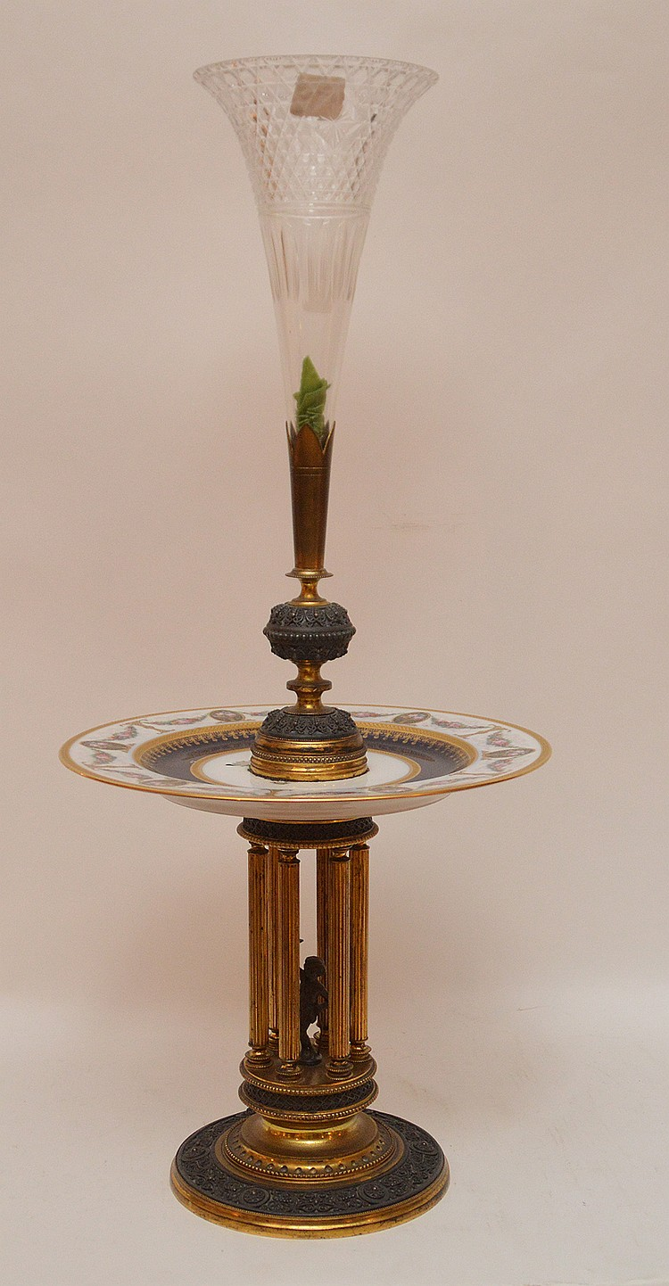 Bronze Porcelain And Glass Epergne.  Ht. 25