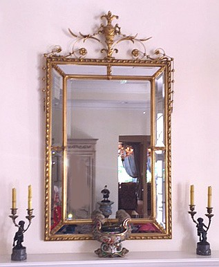 Mirror, gilded urn crest with bell flower, 59