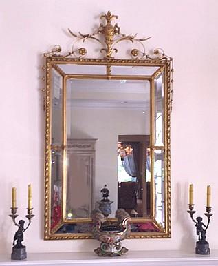 Mirror, gilded urn crest with bell flower, 59