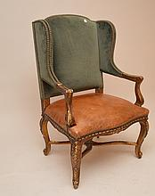 Ralph Lauren Wing Back Chair with green velvet and leather seat, 45