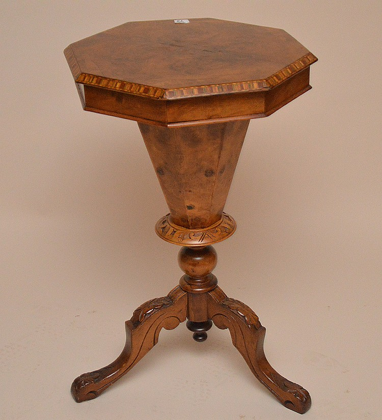 Burled wood Victorian sewing stand, octagonal form lid with fitted interior, marquetry banded rim, 28