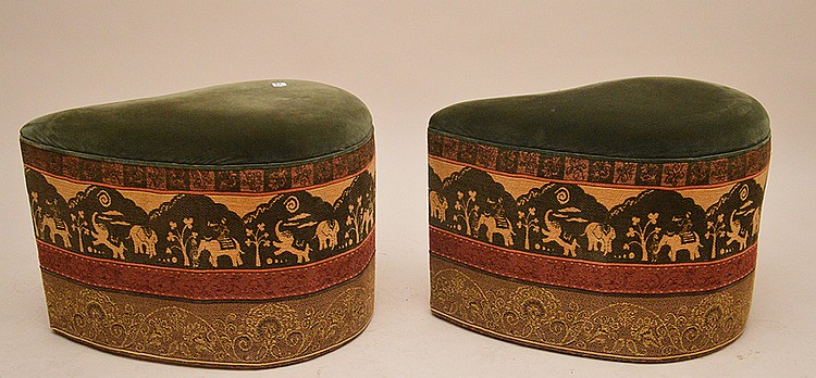 2 unusual shaped paisley form upholstered ottomans, 17