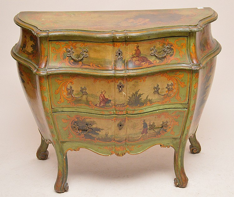 Green Painted 3 drawer Bombay commode with painted scenes, 33