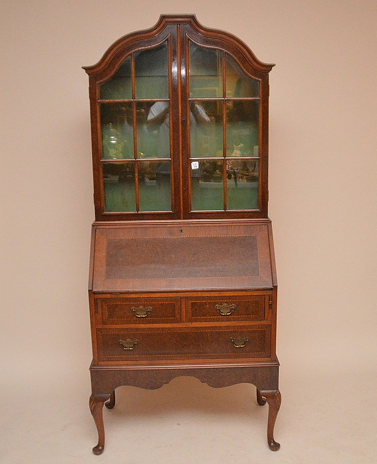 Dutch style mahogany secretary glass doors over drop front above 2 long drawers, 76