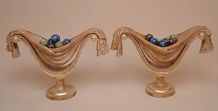 Pair Italian Carved Wood Center Bowls each with faux painted wood spheres.  Ht. 23