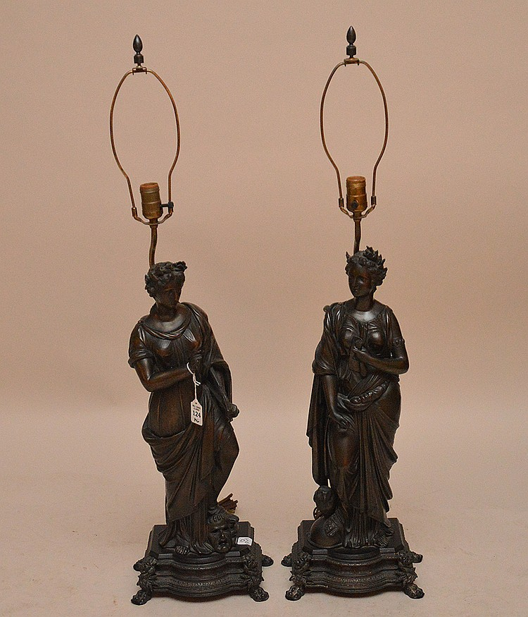 Pair Bronze Sculptures Depicting Greek Goddesses electrified and mounted as lamps.  Ht. 24