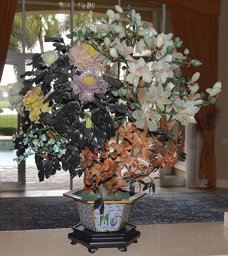 Monumental Jade Tree in cloisonné pot with wood stand.   Ht.48