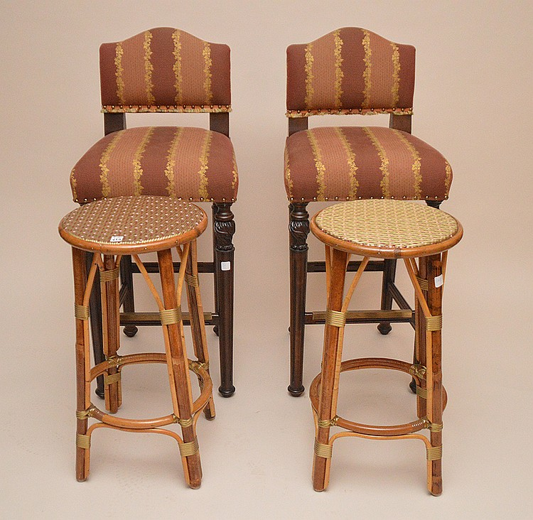 Pair of rattan stools and pair of upholstered bar stools