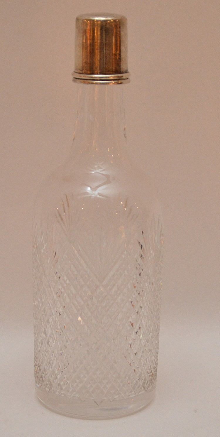 Antique decanter with silver lid, 10 1/2