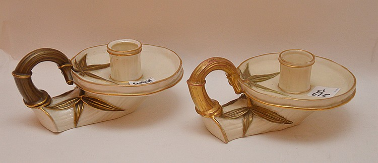 Pair Royal Worcester candlesticks, 3