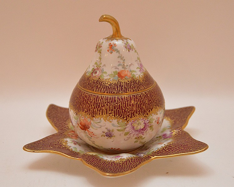 Antique Dresden porcelain pear with under plate