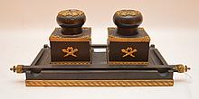 19th Century French Gilt & Patinated Bronze Desk Set.  Ht. 5