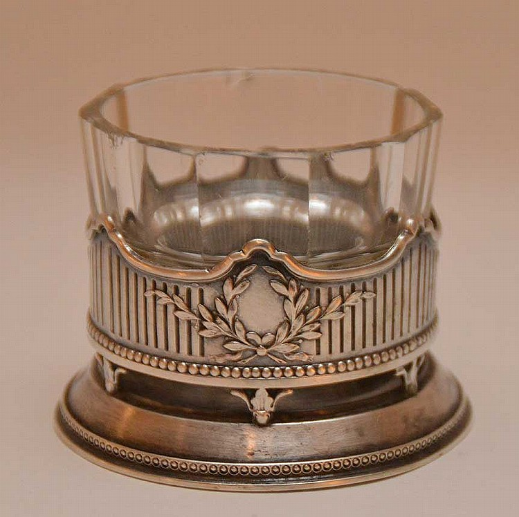 Russian silver candle holder with fitted glass insert, 2 1/4