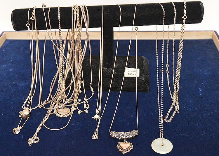 (20) assorted silver necklaces