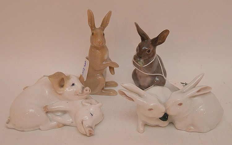4 Royal Copenhagen animal figures, 3 rabbits and 1 pig, 2