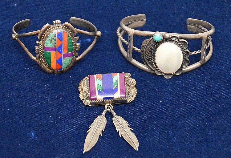 3 silver Indian pieces, 2 cuffs and 1 pin